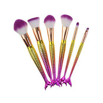 6Pcs Gradient Color Mermaid Handle Makeup Brushes -  WHITE / PURPLE