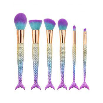 6Pcs Gradient Color Mermaid Handle Makeup Brushes