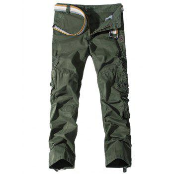 Pockets Embellished Straight Leg Cargo Pants - ARMY GREEN 32
