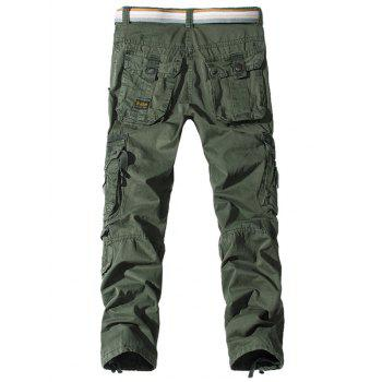 Pockets Embellished Straight Leg Cargo Pants - ARMY GREEN 36