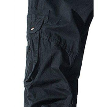 Pockets Embellished Straight Leg Cargo Pants - BLACK 38