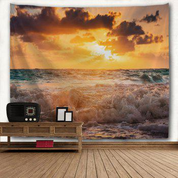Sunrise Beach Wave Print Tapestry Wall Hanging Art - COLORMIX W71 INCH * L79 INCH