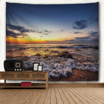 Sunset Beach Waves Print Tapisserie Wall Hanging Art - multicolorcolore W51 INCH * L59 INCH