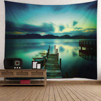 Lake Boat Printed Wall Hanging Tapestry - COLORMIX W59 INCH * L51 INCH