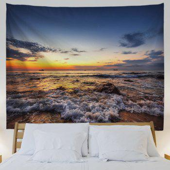 Sunset Beach Waves Print Tapestry Wall Hanging Art - COLORMIX W59 INCH * L79 INCH