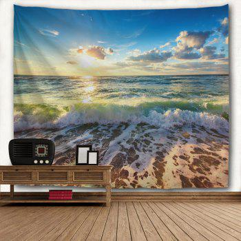 Beach Waves Print Tapestry Wall Hanging Art - COLORMIX W59 INCH * L79 INCH