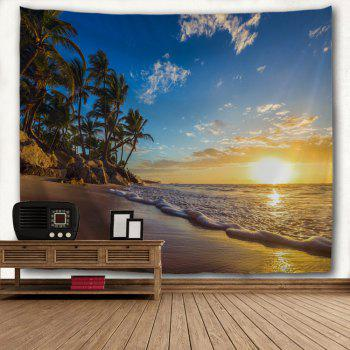 Sunrise Beach Trees Print Tapestry Wall Hanging Art - COLORMIX W59 INCH * L79 INCH