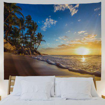 Sunrise Beach Trees Print Tapestry Wall Hanging Art - COLORMIX W71 INCH * L79 INCH