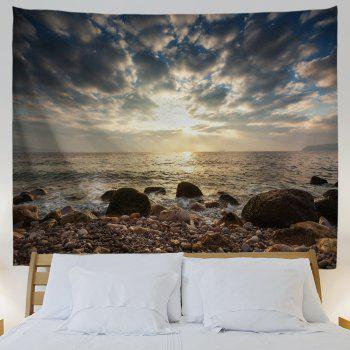 Stone Beach View Print Tapestry Wall Hanging Art - COLORMIX W59 INCH * L59 INCH