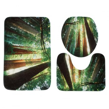 3Pcs Sunshine Forest Toilet Lid Cover and Floor Mats - GREEN