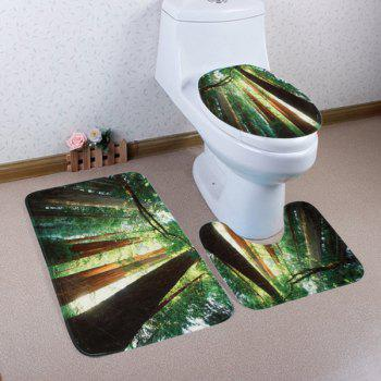 3Pcs Sunshine Forest Toilet Lid Cover and Floor Mats