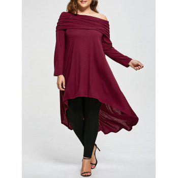Plus Size High Low Skew Neck T-shirt