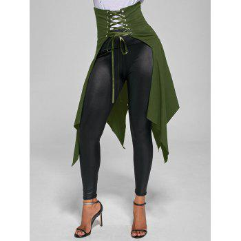 High Waist Lace Up Front Slit Asymmetrical Skirt - ARMY GREEN XL