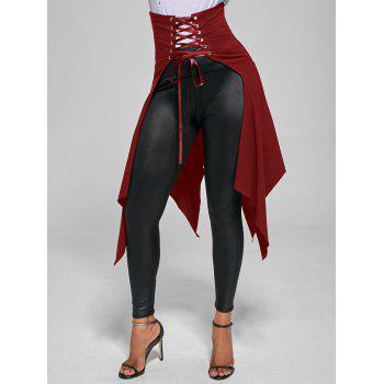 High Waist Lace Up Front Slit Asymmetrical Skirt - BRIGHT RED BRIGHT RED
