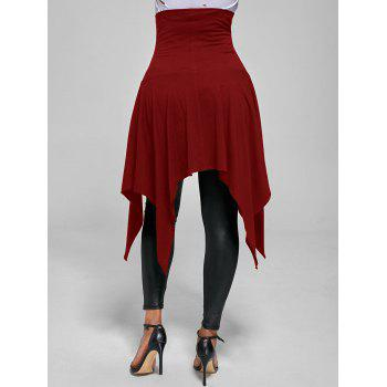 High Waist Lace Up Front Slit Asymmetrical Skirt - BRIGHT RED XL