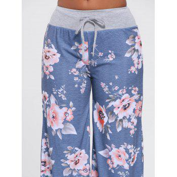 Floral Wide Leg Drawstring Pants - S S