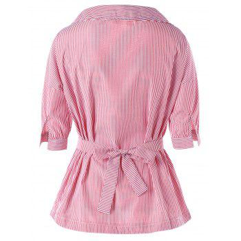 Cravate Cravate à rayures Peplum Blouse - ROSE PÂLE XL