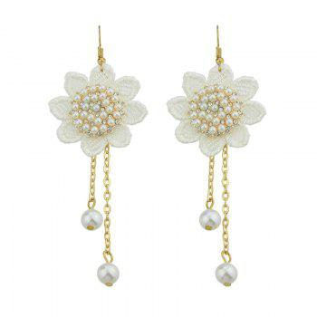 Faux Pearl Flower Lace Crochet Chain Earrings