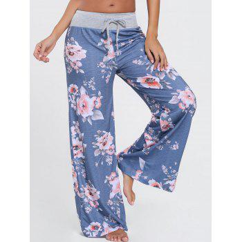 Floral Wide Leg Drawstring Pants - BLUE XL