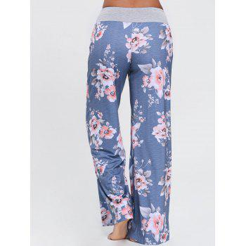 Floral Wide Leg Drawstring Pants - BLUE BLUE
