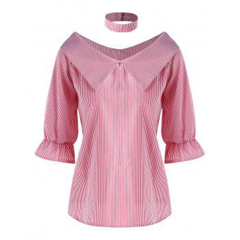 Striped Flat Collar Blouse with Choker