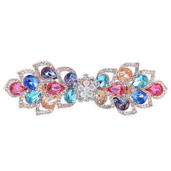 Rinestone Inlay Hollow Out Flower Shape Barrette -  BLUE/YELLOW/RED