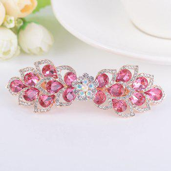 Rinestone Inlay Hollow Out Flower Shape Barrette - TUTTI FRUTTI TUTTI FRUTTI