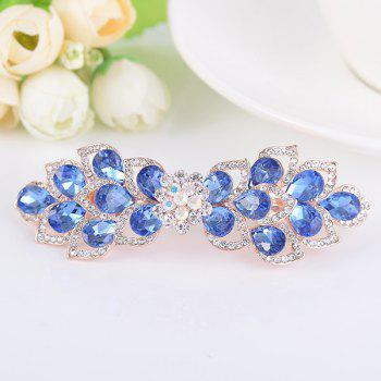Rinestone Inlay Hollow Out Flower Shape Barrette - BLUE BLUE