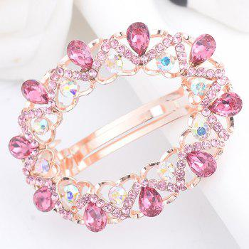 Hollow Out Faux Gemstone Inlaid Round Barrette - PINK