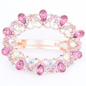 Hollow Out Faux Gemstone Inlaid Round Barrette - PINK PINK