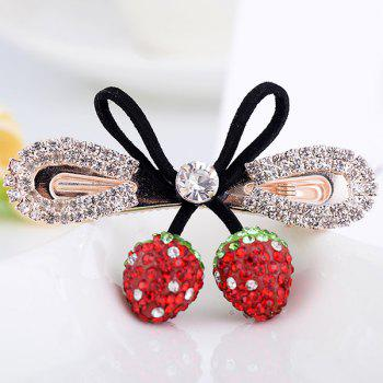 Rhinestone Bowknot Double Strawberry Barrette - RED RED