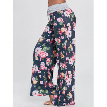 Drawstring Floral Wide Leg Pants - GREEN GREEN