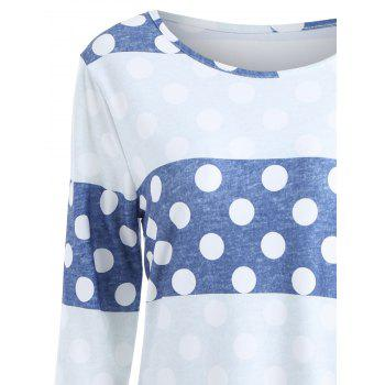 Striped Polka Dot Long Sleeve Tee - L L