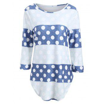 Striped Polka Dot Long Sleeve Tee - BLUE L