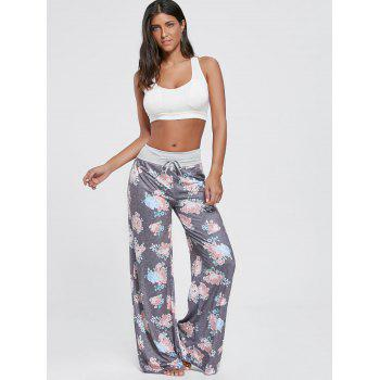 Drawstring Floral Wide Leg Pants - XL XL