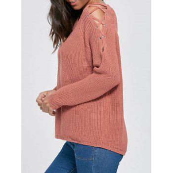 Lace Up Knit Chunky Sweater