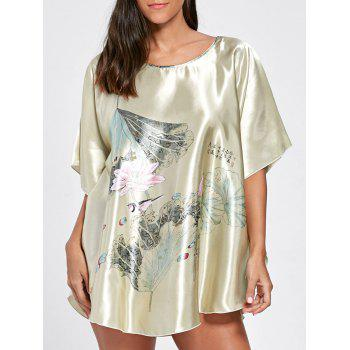 Batwing Sleeve Satin Tunic Pajama Top