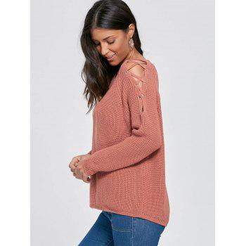 Lace Up Knit Chunky Sweater - ORANGE RED ORANGE RED