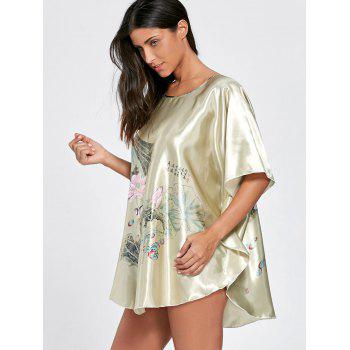 Top de pyjama en tunique satinée Batwing Sleeve - Vert Olive ONE SIZE