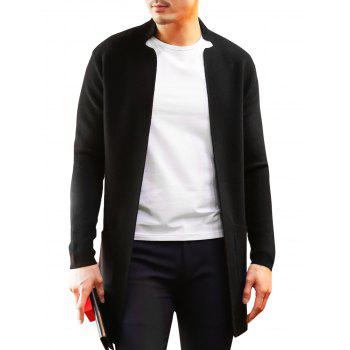 Open Front Notched Collar Longline Cardigan