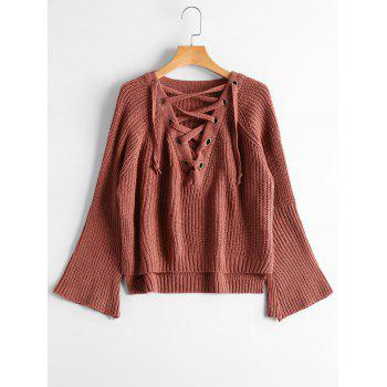 Lace Up Flare Sleeve High Low Sweater - BRICK-RED ONE SIZE