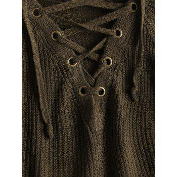 Lace Up Flare Sleeve High Low Sweater - ONE SIZE ONE SIZE