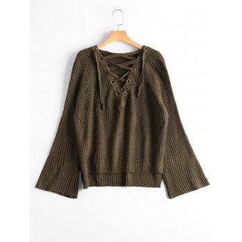 Lace Up Flare Sleeve High Low Sweater - ARMY GREEN ARMY GREEN