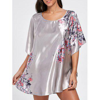 Batwing Sleeve Satin Tunic Pajama Top - LIGHT GRAY ONE SIZE
