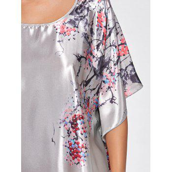 Batwing Sleeve Satin Tunic Pajama Top - ONE SIZE ONE SIZE