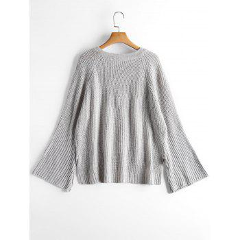 Lace Up Flare Sleeve High Low Sweater - GRAY GRAY