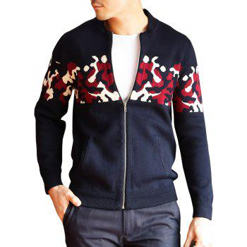 Zipper Up Camo Cardigan