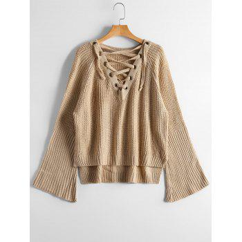 Lace Up Flare Sleeve High Low Sweater - CAMEL ONE SIZE