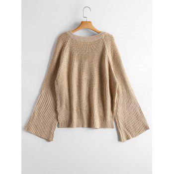 Lace Up Flare Sleeve High Low Sweater - CAMEL CAMEL