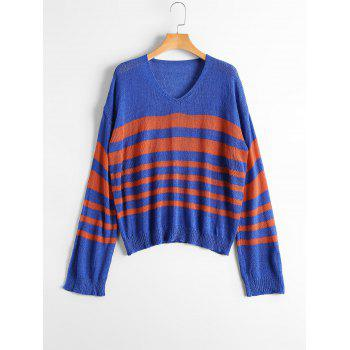 V Neck Striped Slit Sleeve Sweater - BLUE AND RED ONE SIZE